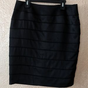 Black satin layerd look pencil skirt